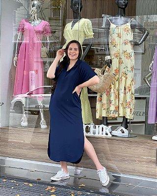 Vestido Longo Azul Marinho Com Gola Polo E Fendas Laterais Help Chik - 24516