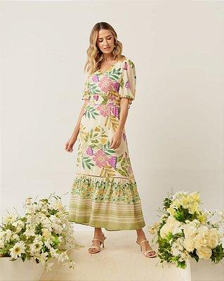 Vestido Longo Estampado Em Crepe Com Detalhe Em Passanamaria - 5167