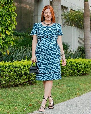 Vestido Tubinho Estampado Em Malha Crepe Com Vivo Em Azul Marinho - 420490