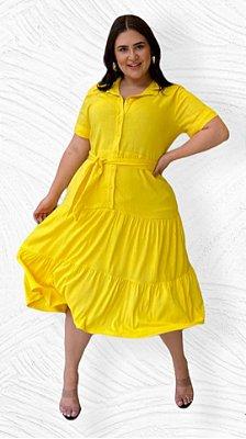 Vestido Midi Amarelo Com Botões Frontais E Acompanha Cinto Faixa - 18310