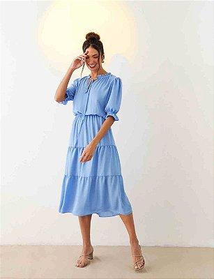 Vestido Midi Em Crepe Azul Claro Manga Princesa Três Marias - 00789