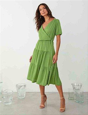 Vestido Midi Transpassado Verde Três Marias Com Cinto Faixa - 00989