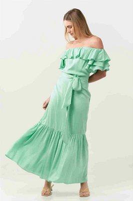 Vestido Longo Ciganinha Verde Água Com Babados E Cinto Faixa - 21265