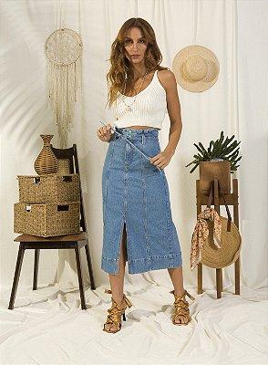 Saia Jeans Midi Com Fenda Frontal E Acompanha Cinto Faixa Ziann Jeans - 27027