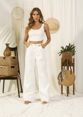 Calça Wide Leg Em Sarja Off White Com Barra Desfiada Ziann Jeans - 27074