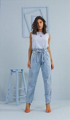 Calça Jeans Clochard Cropped Acompanha Cinto Faixa Ziann Jeans - 27129