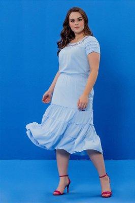 Vestido Midi Três Marias Azul Claro Com Bordado Industrial Hadaza - 050890