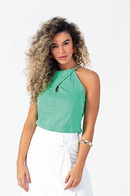 Blusa De Alça Verde Com Cadarço Retorcido E Decote Gota - 102516