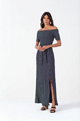 Vestido Longo Estampado Com Fenda Frontal E Amarração Na Cintura - 102580