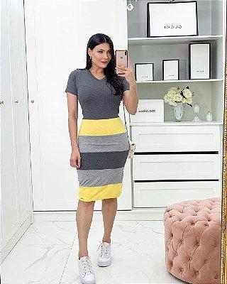 Vestido Listrado Em Amarelo E Mescla Em Malha Com Cinto Faixa - 9032V