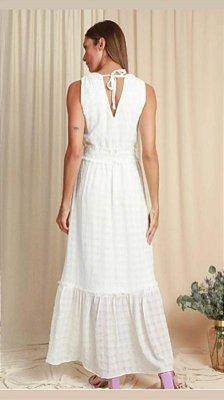 Vestido Regata Longo Off White Com Lastex Na Cintura E Babado - 862106