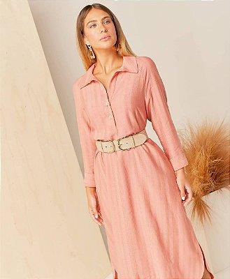 Vestido Chemise Midi Em Viscolinho Trabalhado Rose - 2334