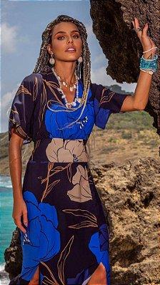 Vestido Longo Estampa Floral Azul Em Viscose Com Fendas Frontais - 210576