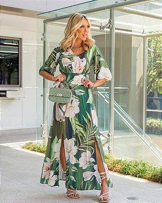 Vestido Longo Estampa Floral Verde Em Viscose Com Fendas Frontais - 210576