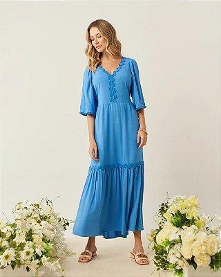 Vestido Longo Azul Com Detalhes Em Sianinha E Franja Tassel - 5173