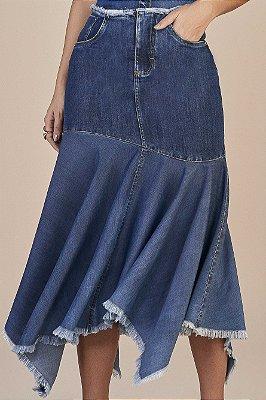 Saia Sino Jeans Com Barra Assimétrica E Desfiada Titanium - 25937