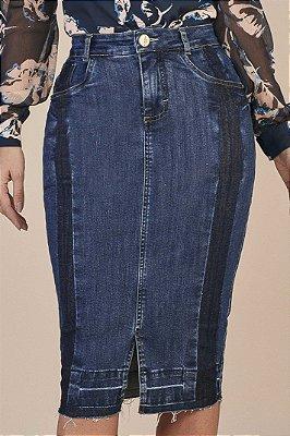 Saia Reta Jeans 65 Cm Com Detalhes Em Lavagem Escura E Fendas Titanium - 25875