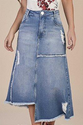 Saia Jeans Evasê 80 Cm Destroyed Com Barra Assimétrica Desfiada Titanium - 25765