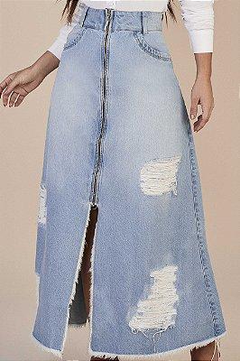 Saia Longa Jeans Com Fenda E Fechamento Em Zíper Frontal Titanium - 25839
