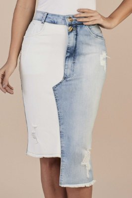 Saia Reta Jeans Bloco De Cores Destroyed 64 Cm Com Barra Assimétrica Titanium - 25774