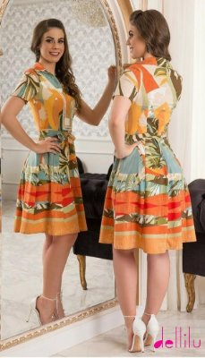 VESTIDO MONTARIA COM ESTAMPA TROPICAL -84040