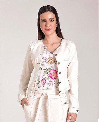 JAQUETA SARJA OFF WHITE LAURA ROSA - 89609