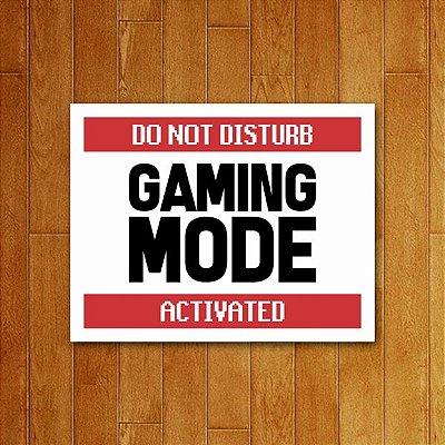Placa Decorativa Gaming Mode