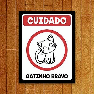 Placa Decorativa Gatinho Bravo V2