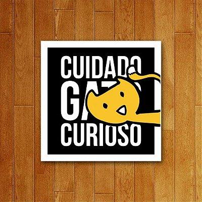 Placa Decorativa Gato Curioso - Um Sábado Qualquer