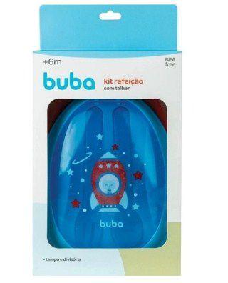 Kit Refeição com talher- Foguete Azul