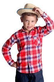 Fantasia de Festa Junina - Camisa Xadrez infantil de algodão