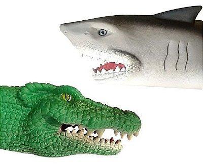 Tubarão e crocodilo display 12 peças
