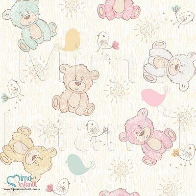Papel de Parede Autocolante Infantil e Bebê Estampado Ursos BASP005