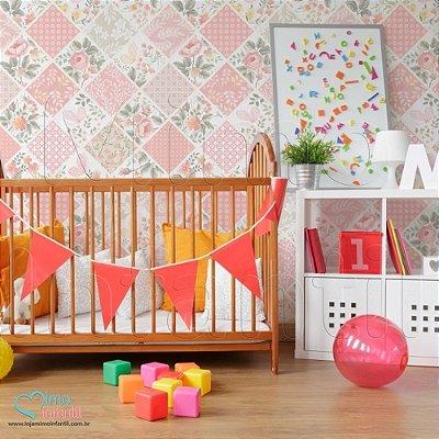 Papel de Parede Autocolante Infantil e Bebê Estampado Patchwork Floral Rosa PATSP003