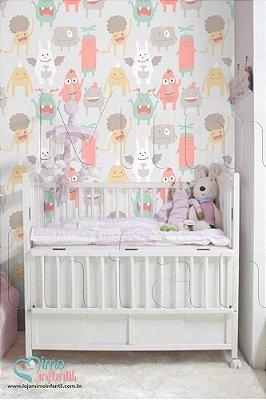 Papel de Parede Autocolante Infantil e Bebê Estampado Monstrinhos BASP054