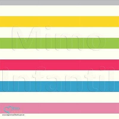 Papel de Parede Autocolante Infantil e Bebê Estampado Listras Coloridas LISP068
