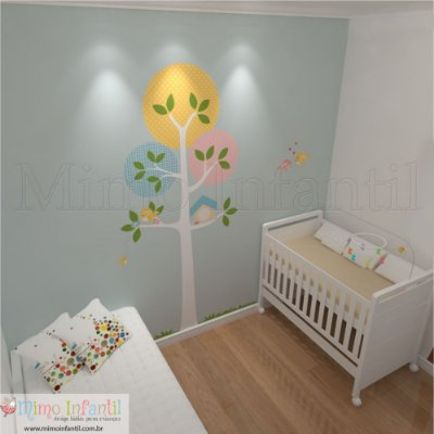 Adesivo de Parede Infantil e Bebê Árvore Manu Branca