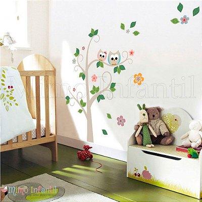 Adesivo de Parede Infantil e Bebê  Corujinhas Árvore (fácil instalação, lavável)