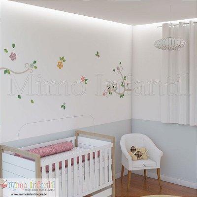 Adesivo de Parede Infantil e Bebê Corujinhas Galhos (fácil instalação, lavável)