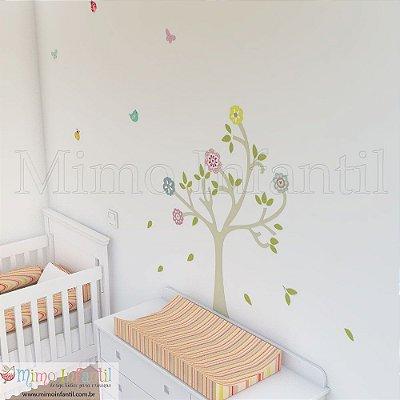 Adesivo de Parede Infantil e Bebê Árvore Primavera (fácil instalação, lavável)