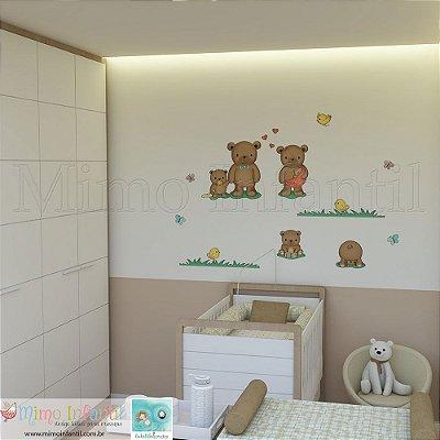Adesivo de Parede Infantil e Bebê Ursinhos (fácil instalação, lavável)
