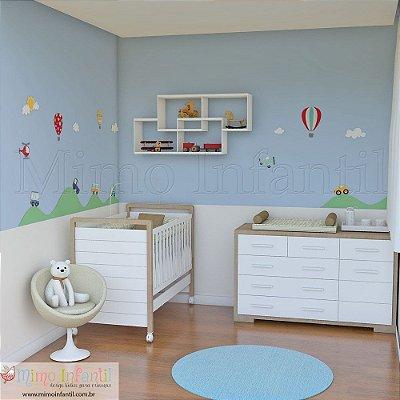 Adesivo de Parede Infantil e Bebê Carros e Balões (fácil instalação, lavável)