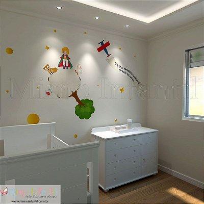 Adesivo de Parede Infantil e Bebê Pequeno Príncipe - A parede tem 3m (L) x 2,7m (A)