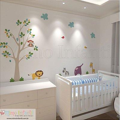 Adesivo de Parede Infantil e Bebê Safari - A parede tem 3m (L) x 2,8m (A)