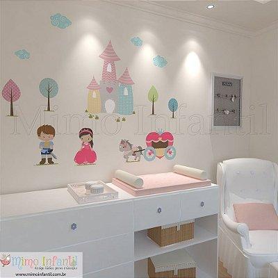 Adesivo de Parede Infantil e Bebê Castelo da Princesa (fácil instalação, lavável)