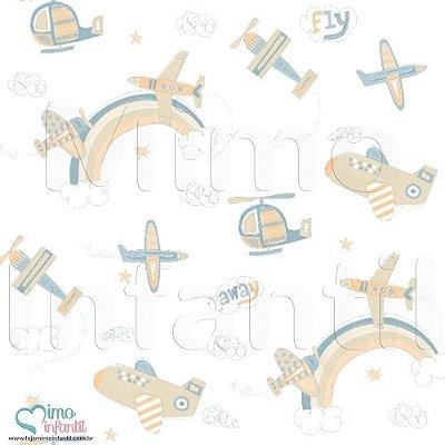Papel de Parede Infantil e Bebê Aviões Marron - BP3310 (Comp: 10m - Larg: 53cm)