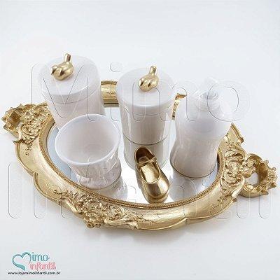 Kit Higiene para Bebê em Cerâmica Dourado Passarinho - KH0011