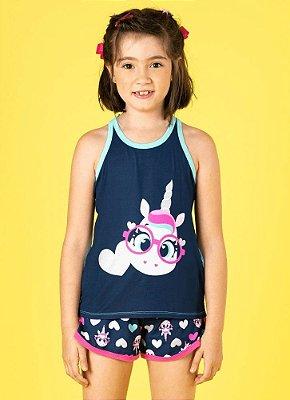 Puket Pijama Short Doll Manga Curta Unicornio Visco 030401875