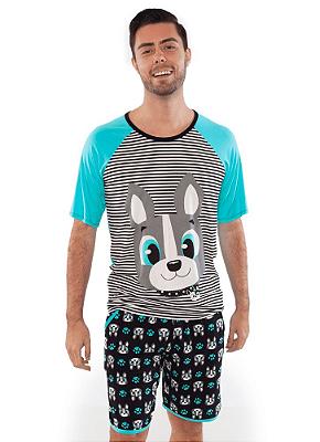 Puket Pijama Manga Curta Visco Bulldog Adulto 030602167