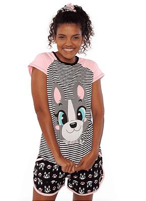 Puket Pijama Short Doll Manga Curta Visco Bulldog 030602166